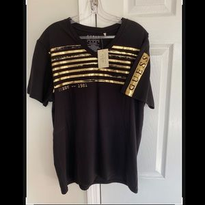 GUESS Jet Black Shirt With Gold Design